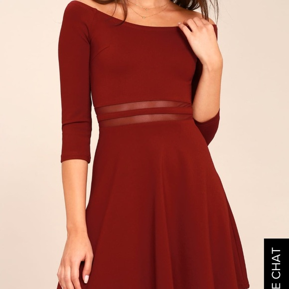 6bf38fd1a2e Lulu s Wine Red Skater Dress NWT